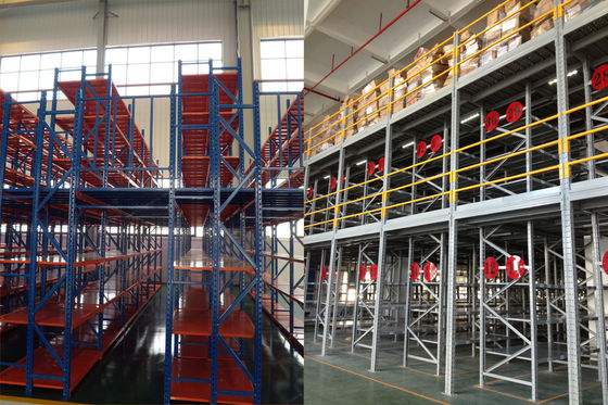 China Two Layer Metal Industrial Mezzanine Systems Upright Frame Size H4064 X D760mm supplier